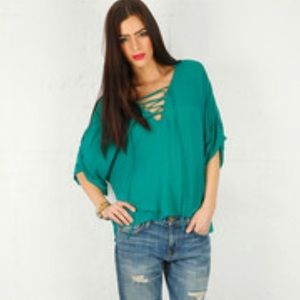 RORY BECA~Sheer Sirena Lace-Front V-neck Blouse~XS